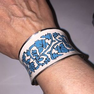Jewelry - Silver, Cream and Blue Enameled Cuff